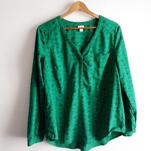 Merona Green Queen Bee Blouse/ Size L